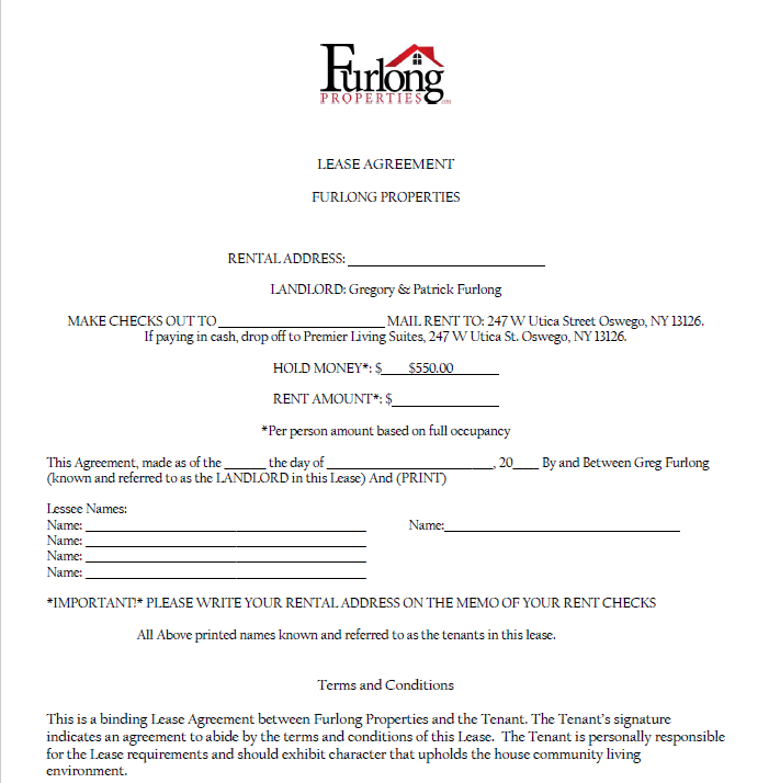 Image of Lease Agreement for Furlong Properties.